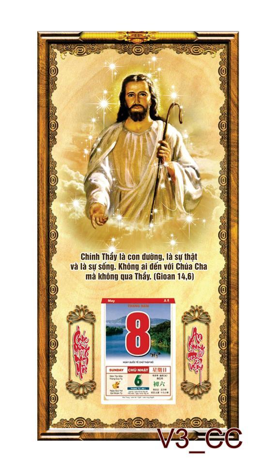 Tranh lịch gỗ treo tường 3D Chúa Giê Su